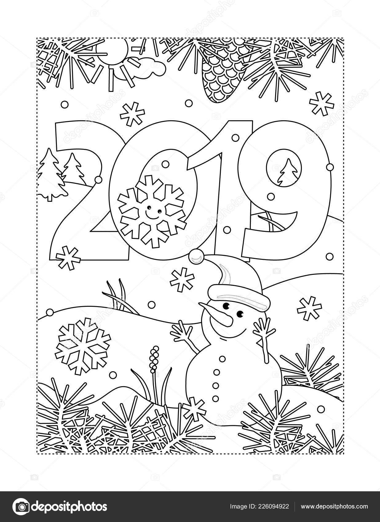 Winterurlaub Weihnachten 2019.Winterurlaub Freude Silvester Oder Weihnachten Themed Malseite Mit