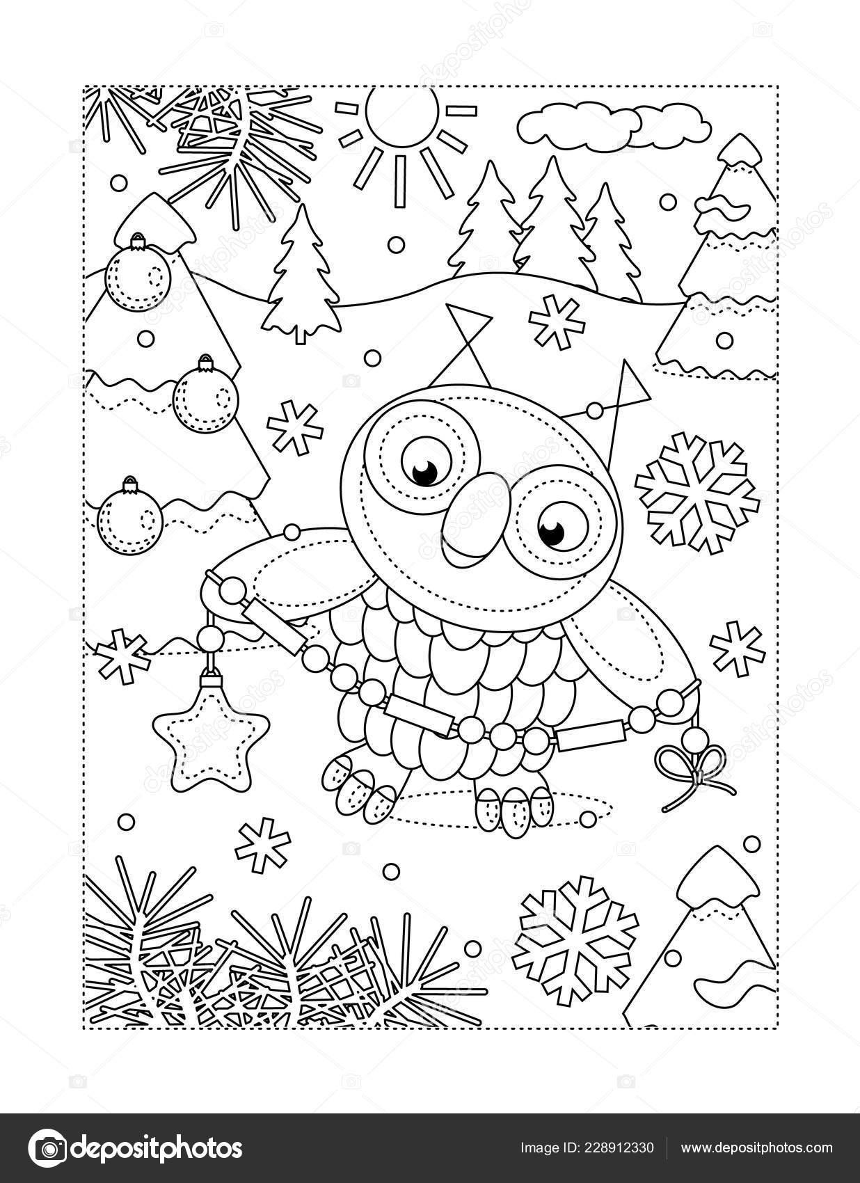 Kleurplaten Rond Winter.Winter Vakantie Vreugde Thema Kleurplaat Met Uil Kerstboom