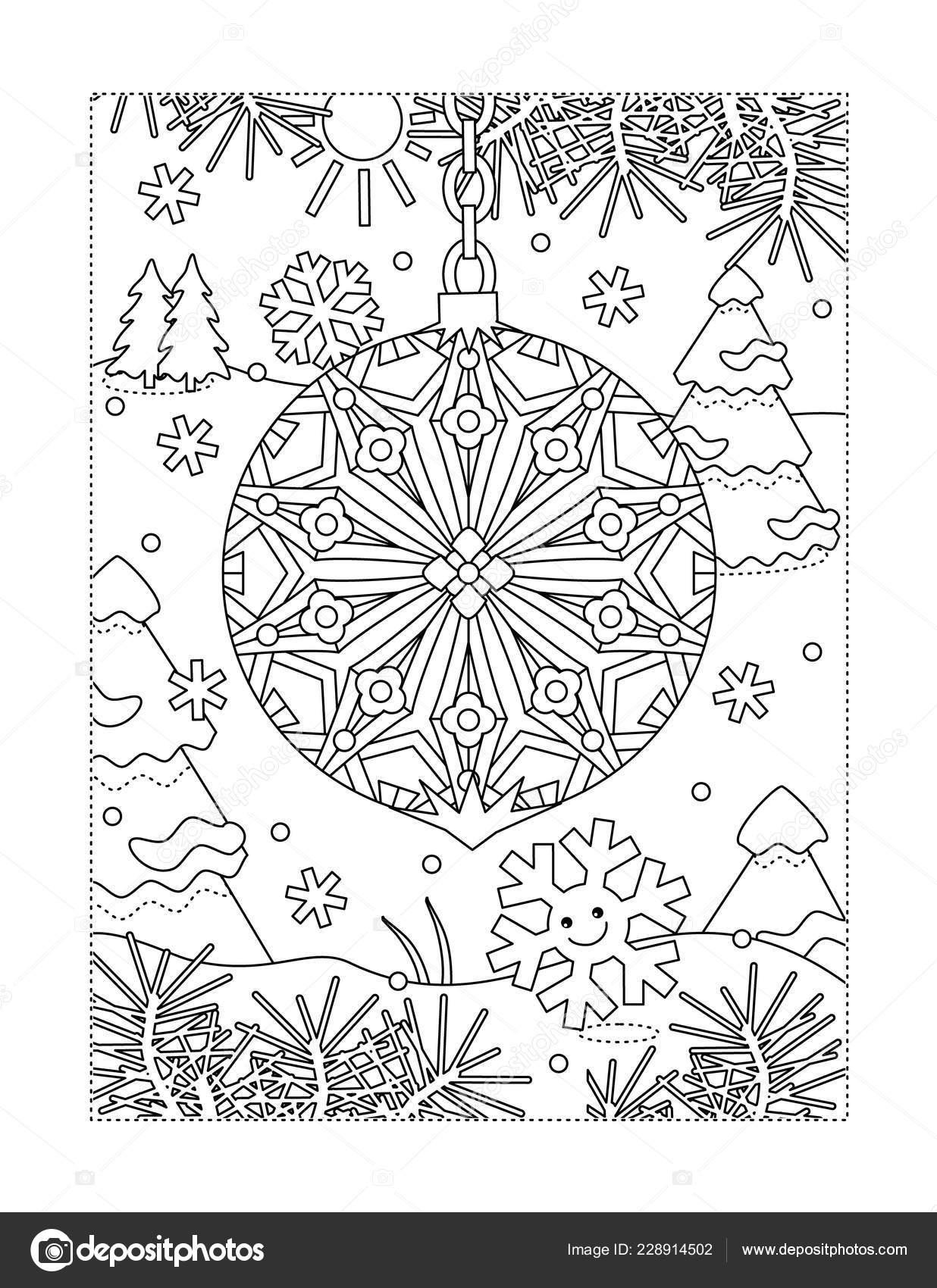 Imagenes De Adornos De Navidad Para Colorear.Invierno Vacaciones Alegria Para Colorear Con Tema Pagina