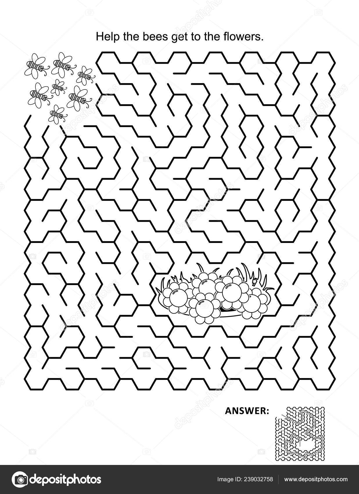 Maze game coloring page help bees get flowers answer included