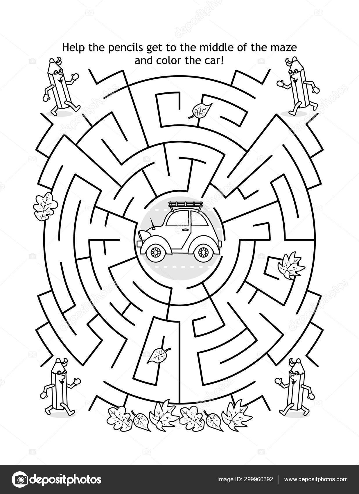 https depositphotos com 299960392 stock illustration maze game coloring page kids html