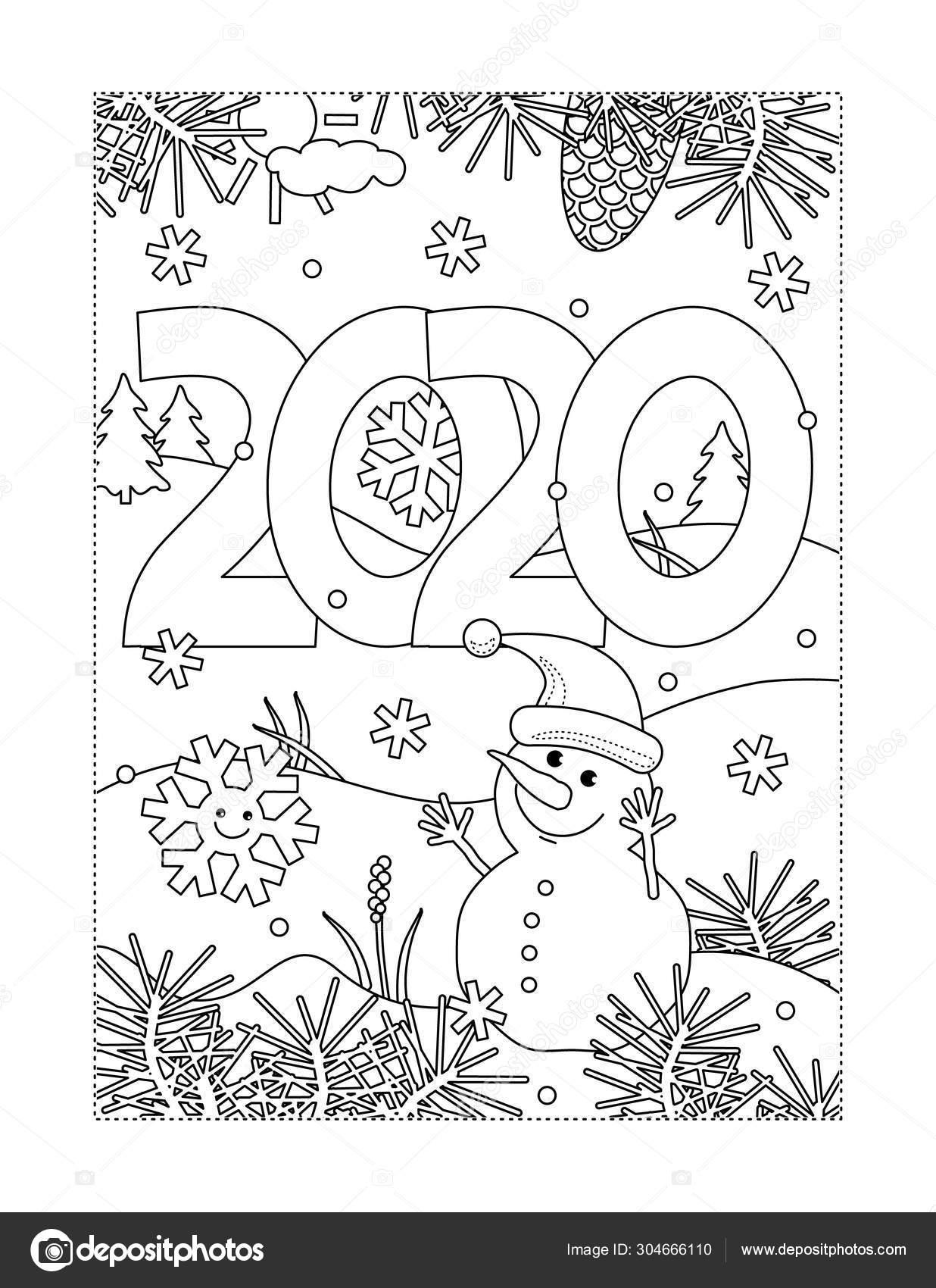 Kleurplaten Van Kerstmis Nieuwjaar.Winter Vakantie Nieuwjaar Kerst Vreugde Kleurplaat Met Jaar