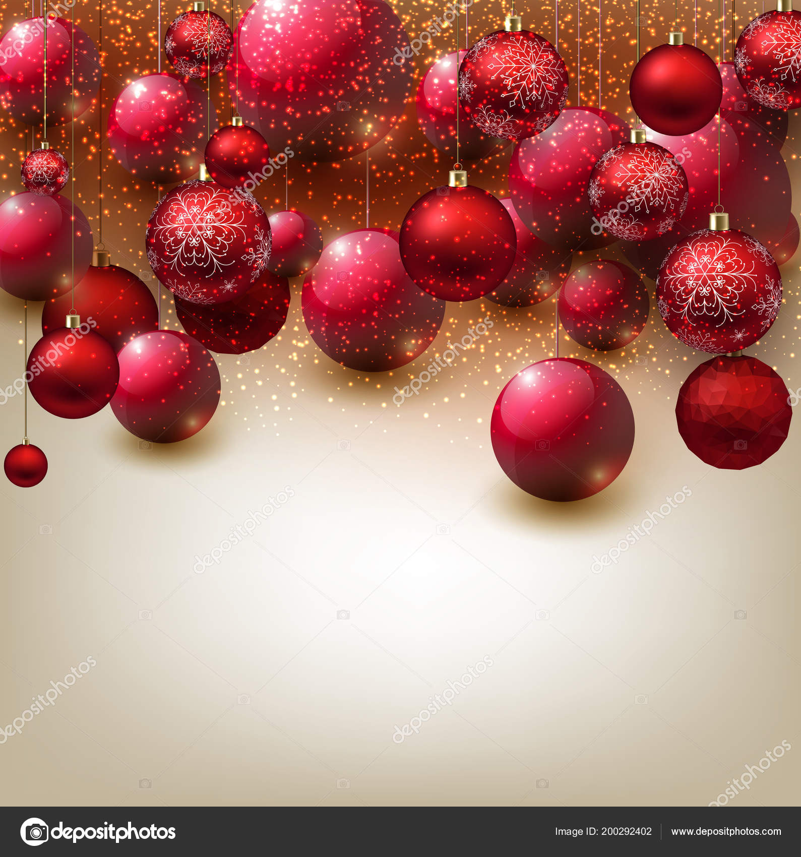 Glossy Christmas Background Red Balls Stock Vector