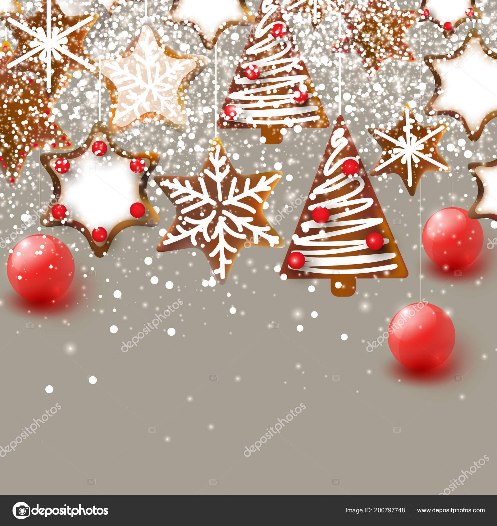 Christmas Background Christmas Gingerbreads Xmas Decoration Elements Design Stock Vector