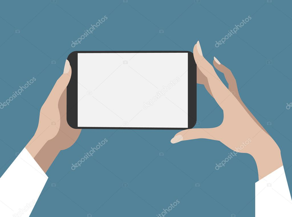 Hands of woman hold smart-phone and pointing on the blank screen concept vector illustration