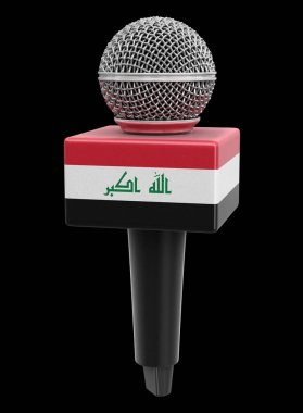 Microphone with Iraq flag. Image with clipping path