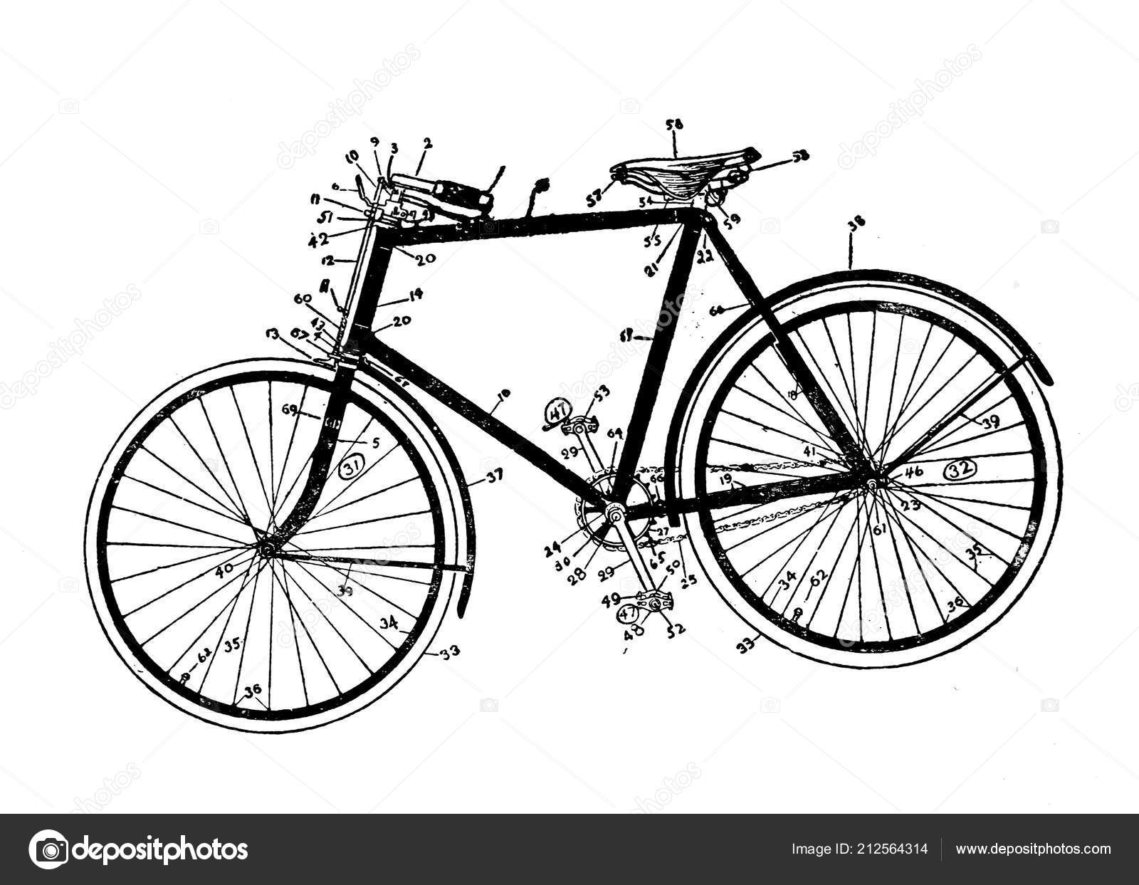 Ancienne Bicyclette illustration une bicyclette ancienne image — photographie ruskpp