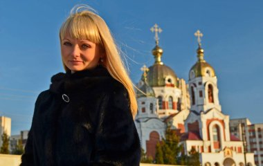 A beautiful adult woman travels in Moldova, Chisinau.