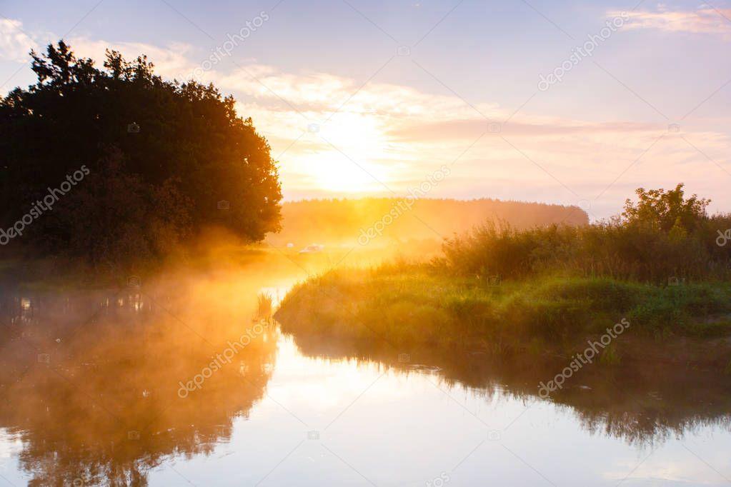 Golden sunlight over river curve in rural area. Summer landscape