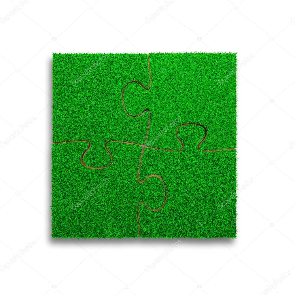 Jigsaw puzzles made out of green grass, isolated on white background, high angle view, 3D illustration.