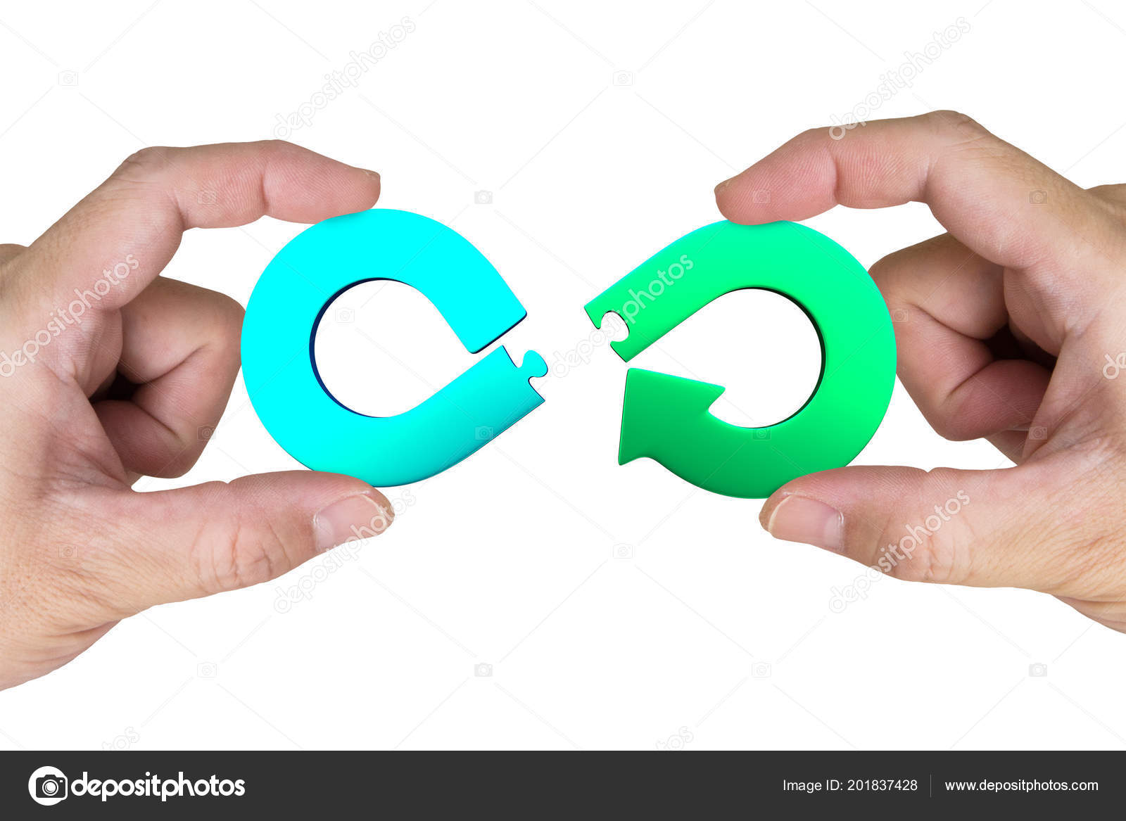 Circular Economy Concept Two Hands Assembling Arrow Infinity