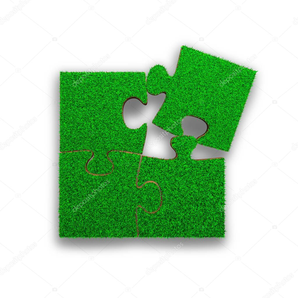 Jigsaw puzzles made out of green grass, high angle view, isolated on white, 3D illustration.