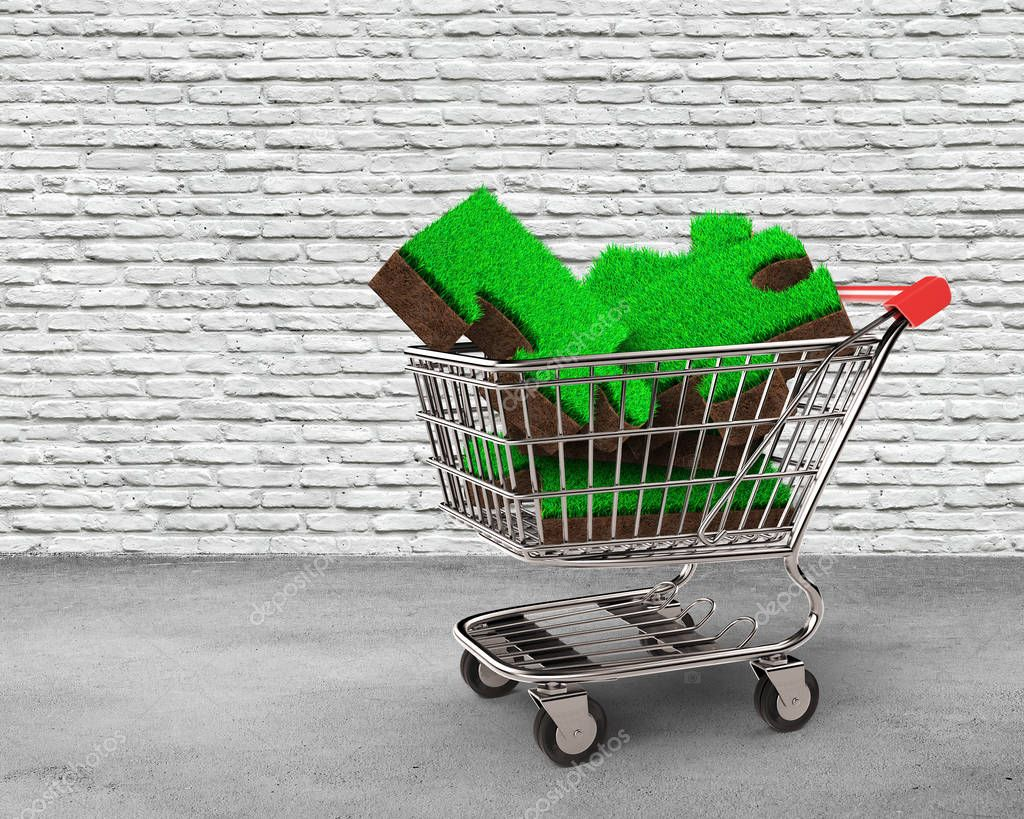 Big jigsaw puzzles made out of green grass and soil texture in the shopping cart, with bricks wall and concrete floor background, ECO and circular economy concept