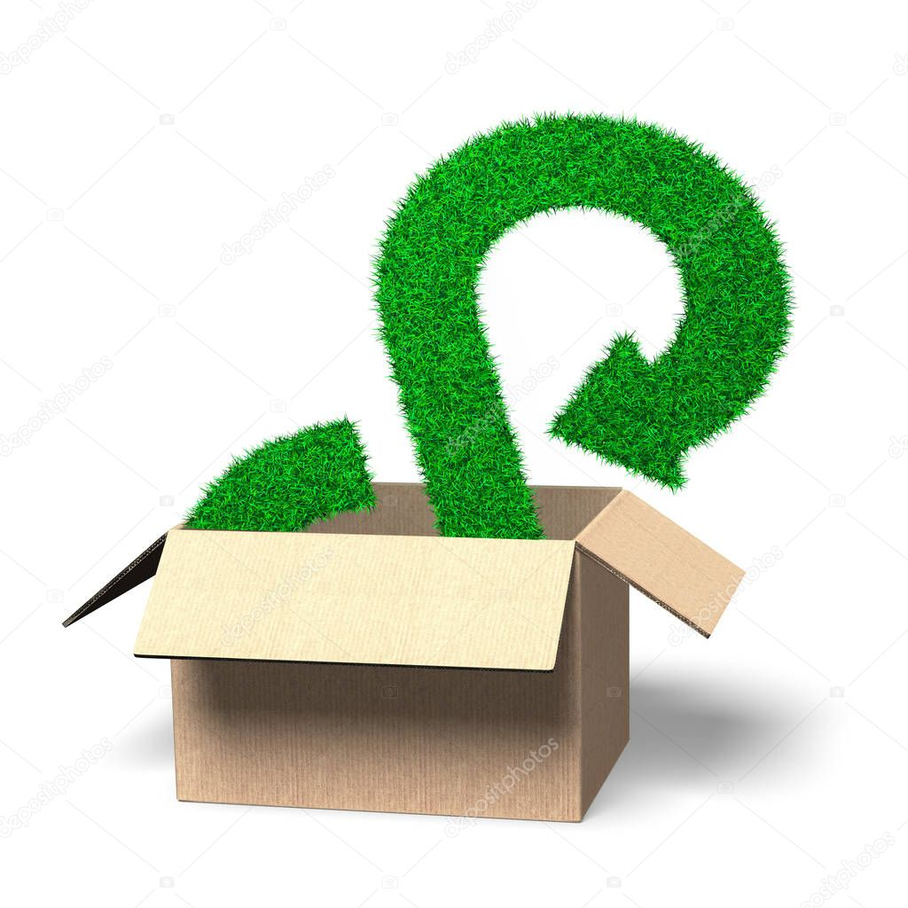 Concept of investing or buying a circular economy solution, arrow infinity recycling symbol of grass texture in open cardboard box, isolated on white, 3D illustration.