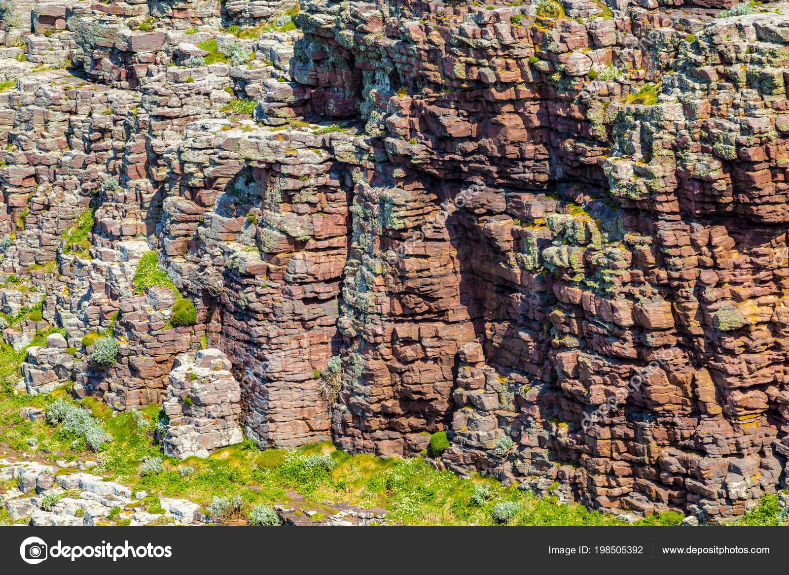 Detalle Una Pared Rocosa Para Costa Bretaña Norte Francia — Fotos de ...