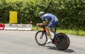 Bourgoin-Jallieu, France - 07, May, 2017: The Belgian cyclist Pieter Vanspeybrouck of Wanty-Groupe Gobert Team  riding during the time trial stage 4 of Criterium du Dauphine 2017.