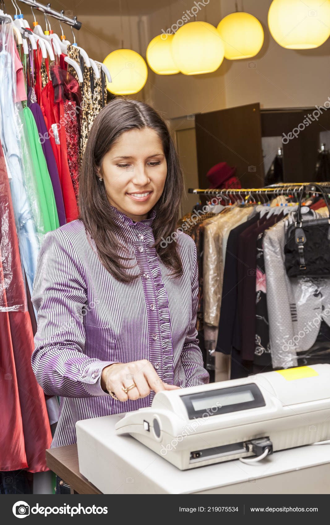 Smiling Middle Aged Woman Cashier Small Clothing Store Credit Card
