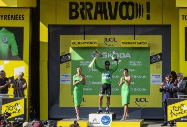 Peter Sagan Celebrates the Green Jersey on Col du Tourmalet - To