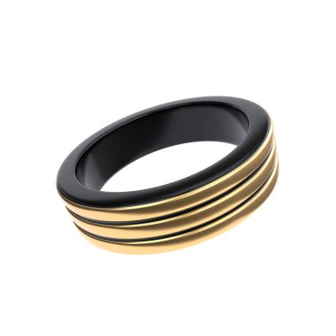 3d render male titanium ring with gold on the white background jpeg