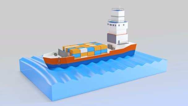 Nákladní loď plachty přes oceán. Můj vlastní design. Vysoce kvalitní 3d vykreslení
