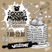 Good morning Pancakes Delicious crepes restaurant menu. Vector pancake food flyer cards for bar cafe. Design template, logo, emblem, sign, clock, vector