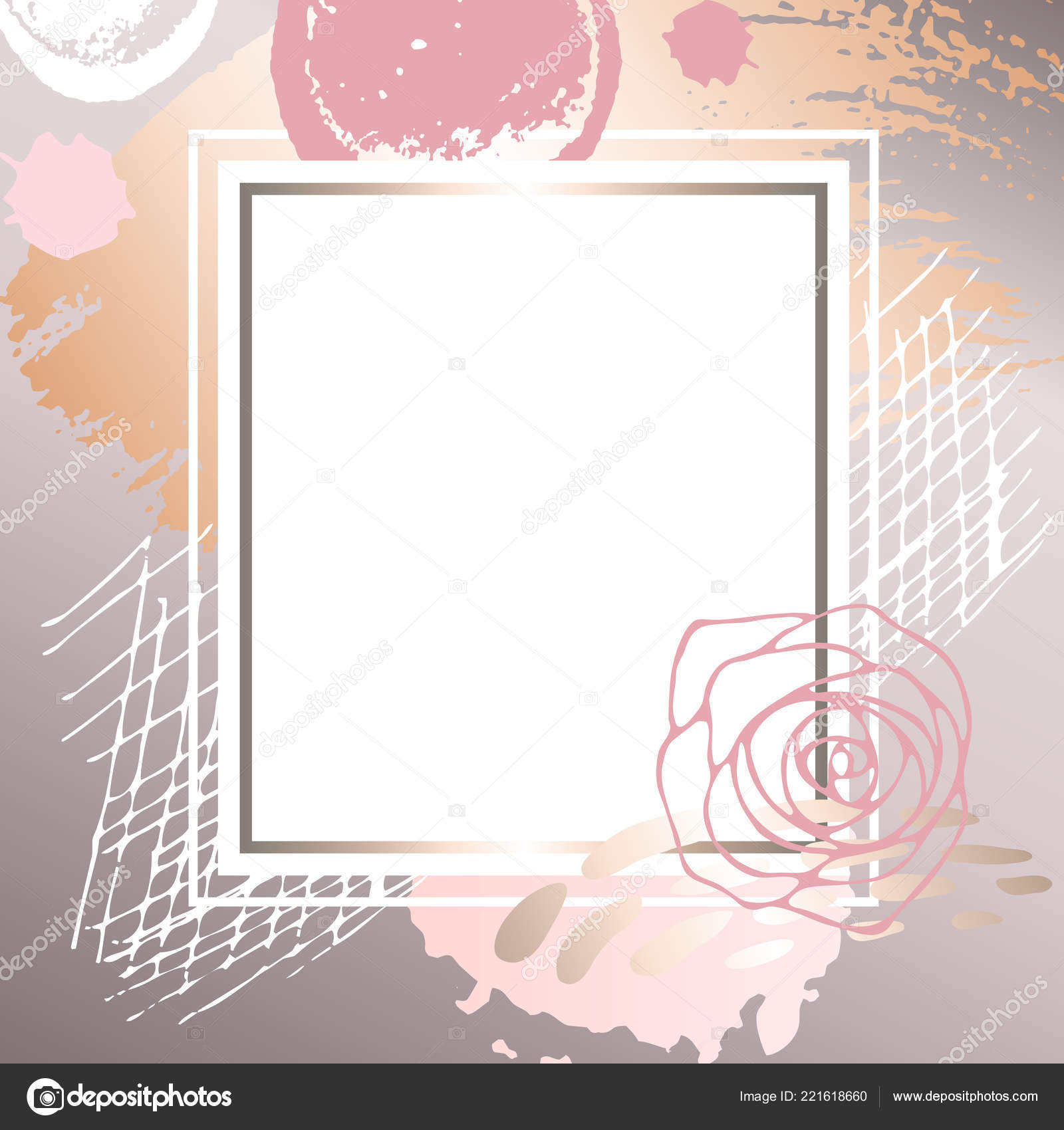 golden pink art frames modern card design brush stroke gold