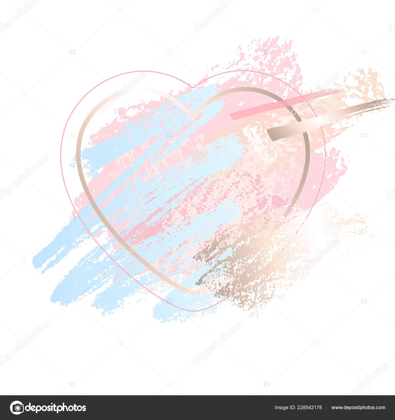 Golden pink art frames  Modern card design, brush stroke