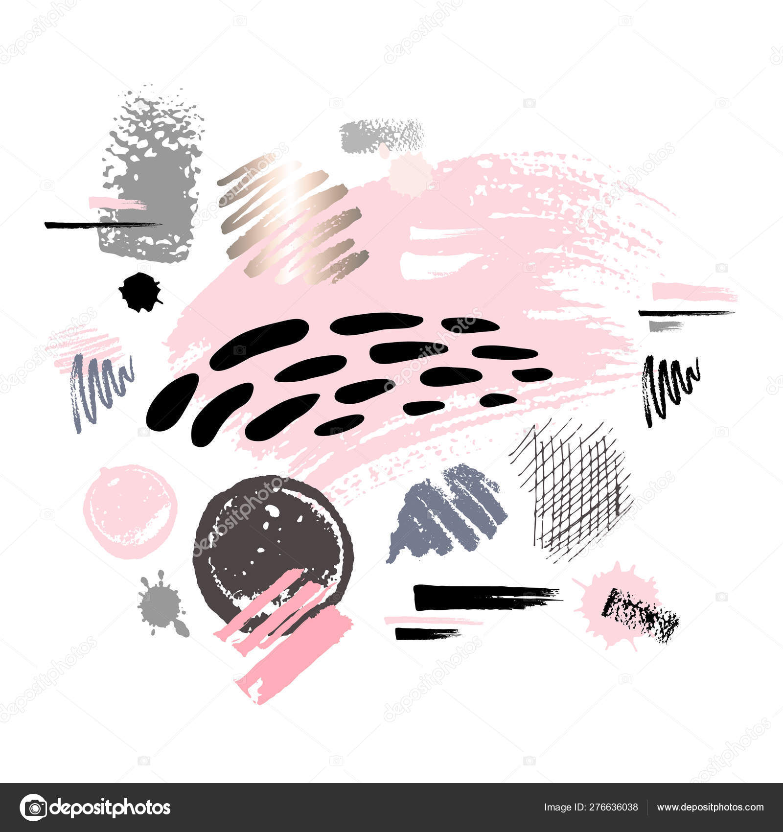 Abstract poster pastel makeup strokes  Set beauty cosmetic