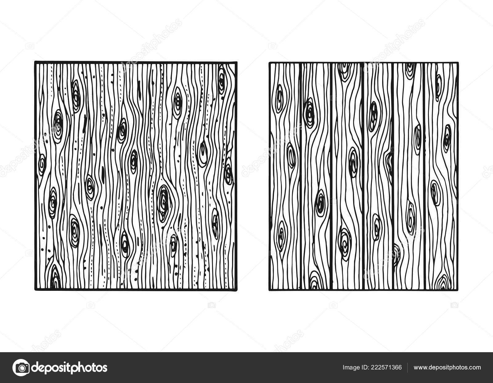 Texture Bois Isolé Main Dessin Panneaux Clôture Image Vectorielle