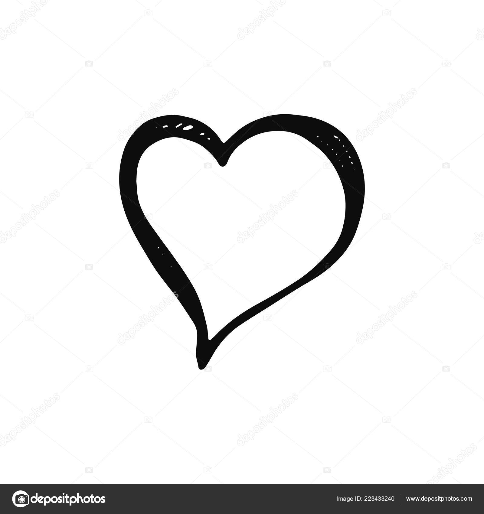 Heart icon isolated object sketch black white background
