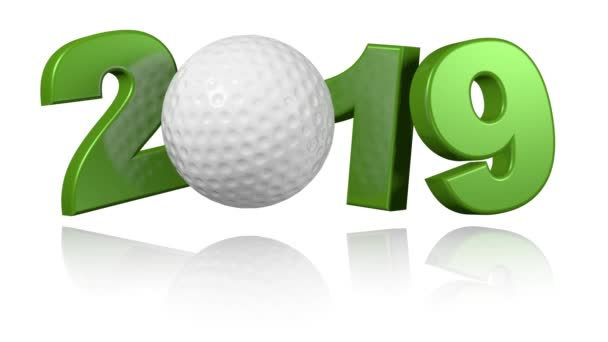 Golf ball 2019 design in Infinite Rotation on a White Background