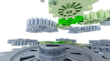 Between Gray Gears and Small Green Gears with a white background