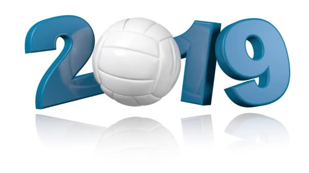 Volejbal 2019 design v nekonečné rotace na bílém pozadí