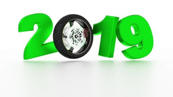Design kola 2019 sportovní Motorka v nekonečné rotace na bílém pozadí