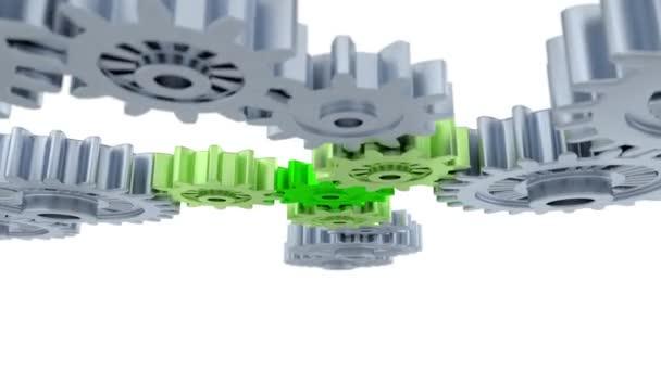 Jízda pod a nad stříbrné zařízení zaměřené na jedné malé zelené kolečko