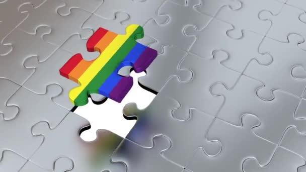 Rotace kolem jeden velký Rainbow Puzzle kus nad mnoho dalších kusů Gray