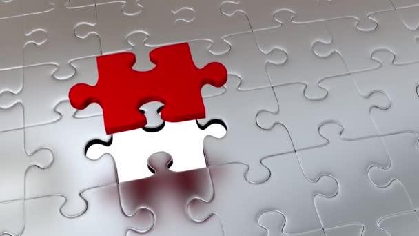 Rotace kolem jeden velký červený Puzzle kus nad mnoho dalších kusů Gray