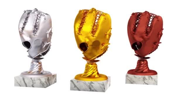 Baseball zlaté stříbrné a bronzové trofeje s rukavicí a Ball v nekonečné rotace na bílém pozadí