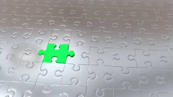 Zooming on One Green Puzzle Piece which escape from many Gray Pieces