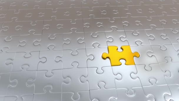 Zooming on One Gold Puzzle Piece which escape from many Gray Pieces