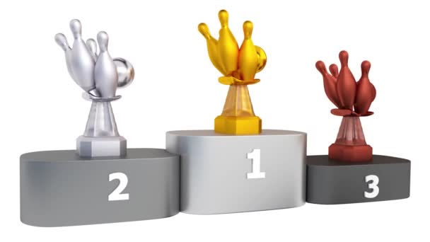 Pohled na Bowling zlaté stříbrné a bronzové trofeje v nekonečné rotace na pódium s bílým pozadím
