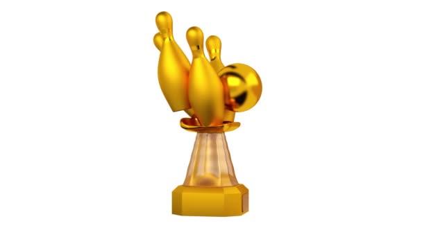 Čelní pohled z Bowling zlatá trofej v nekonečné rotace na bílém pozadí