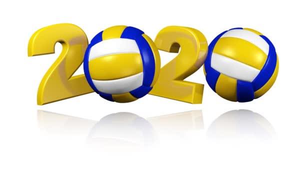 Plážový volejbal 2020 design v nekonečné rotaci na bílém pozadí