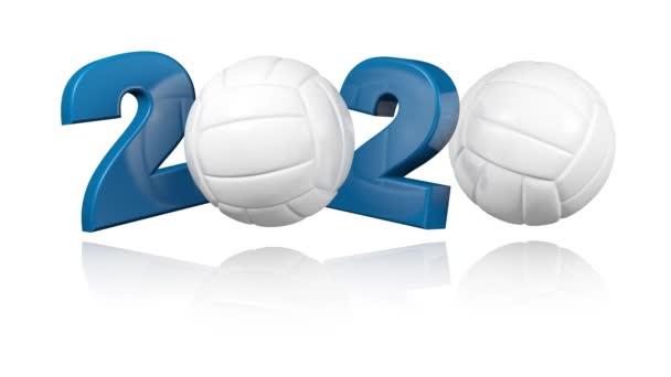 Volejbal 2020 návrh v nekonečné rotaci na bílém pozadí