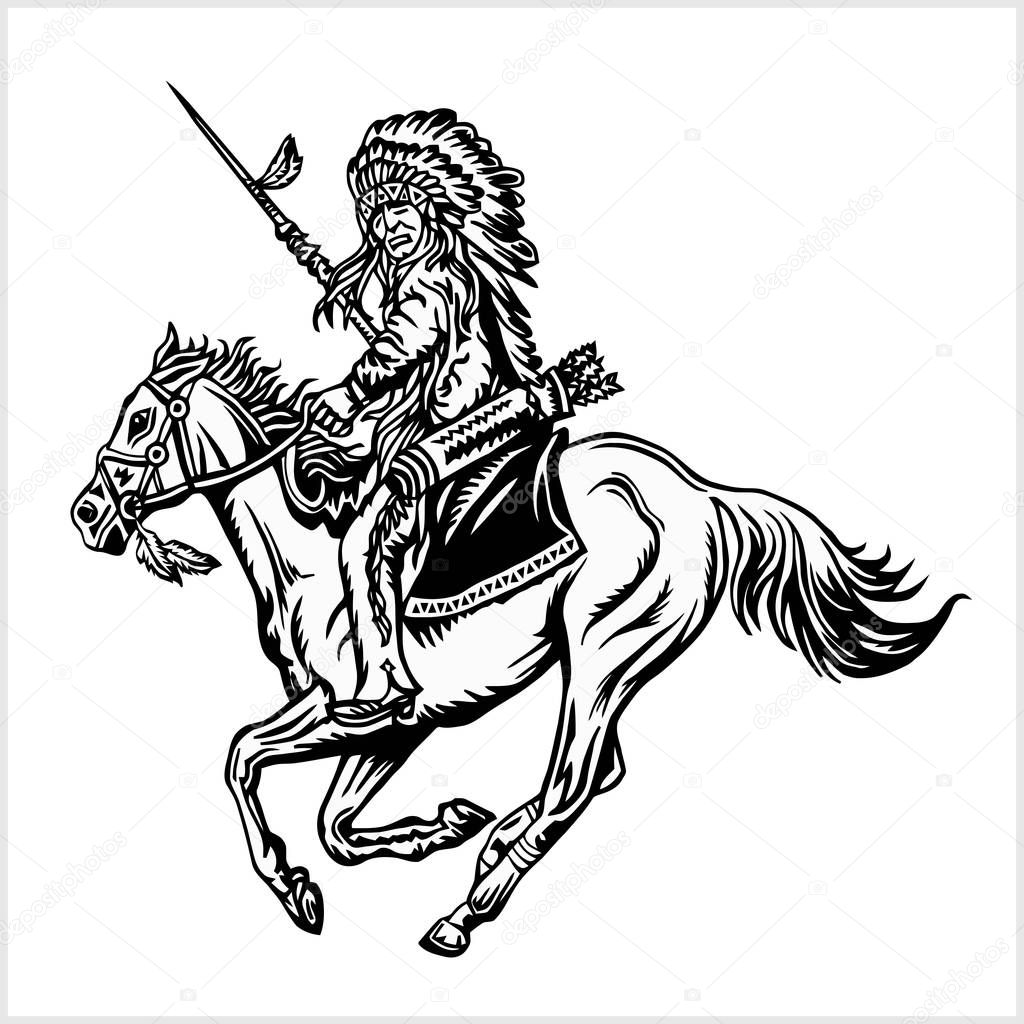 Native American - rider on horse.