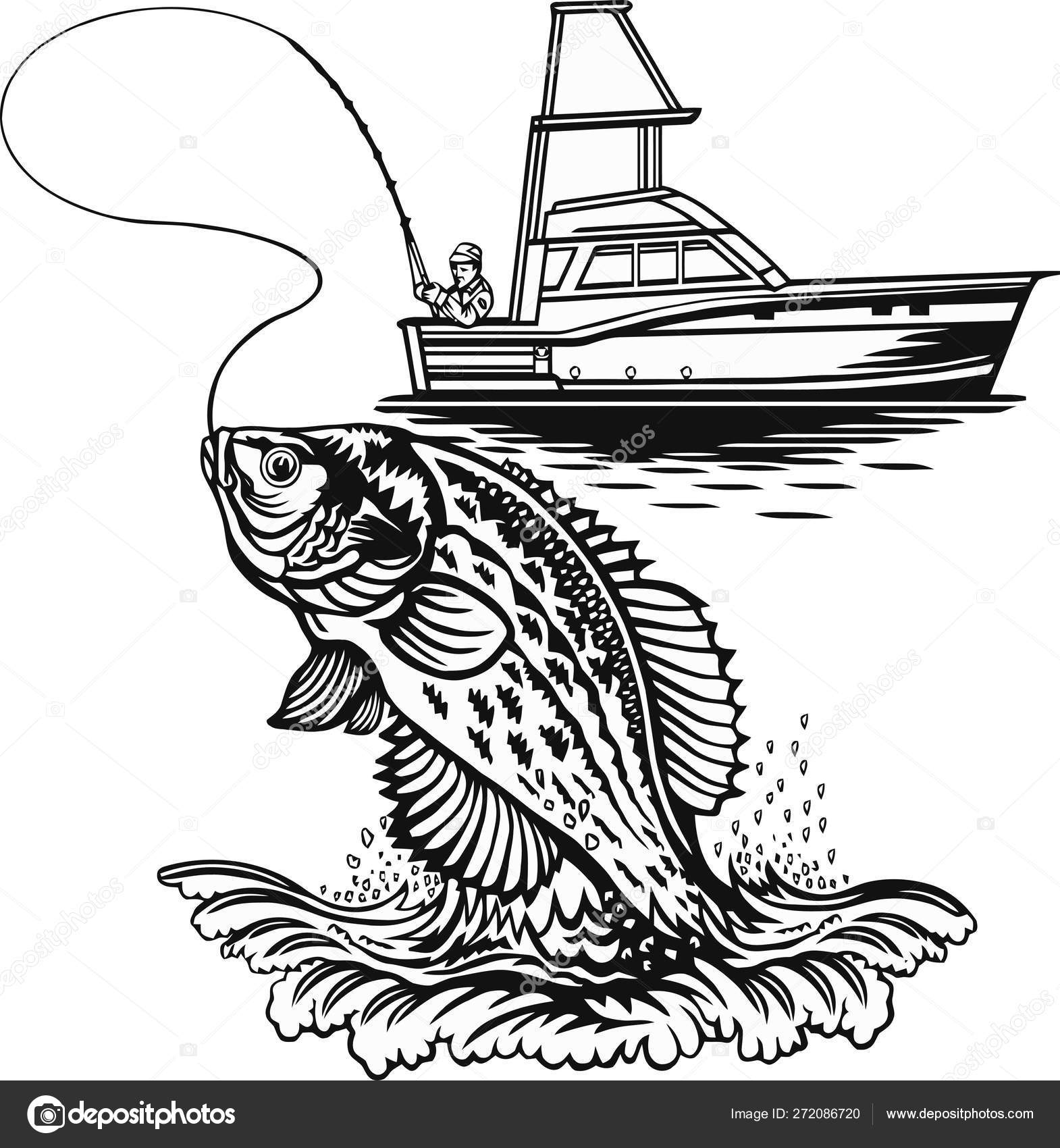 Clipart Crappie Fisherman And Crappie Fish Freshwater Sport Fish Stock Vector C Digital Clipart 272086720