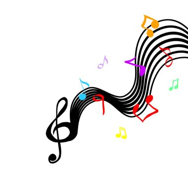 Abstraction with notes and a violin key. Vector illustration