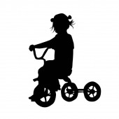 The silhouette of a little girl on a three-wheeled bicycle. Vector illustration