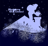 Umělecké pozadí Veselé Vánoce, Santa Claus je černá silueta sedí na komíně, těšil noční sněžení. Pohled ze střešního vektoru ilustrace.