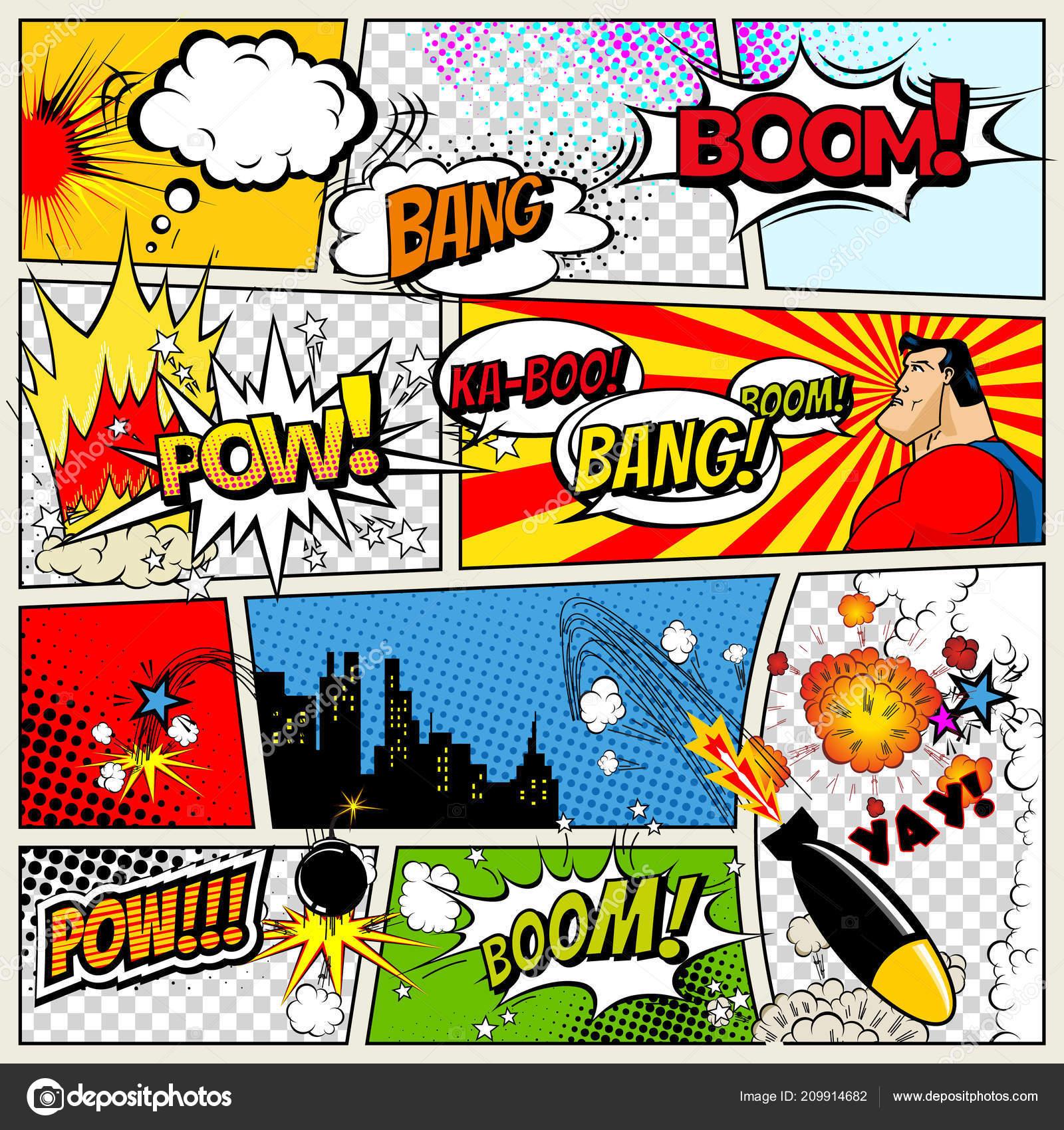 Comic Template | Comics Template Vector Retro Comic Book Speech Bubbles Illustration